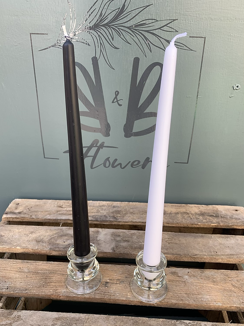 Tall Candle in Glass Stand - white or black candle option