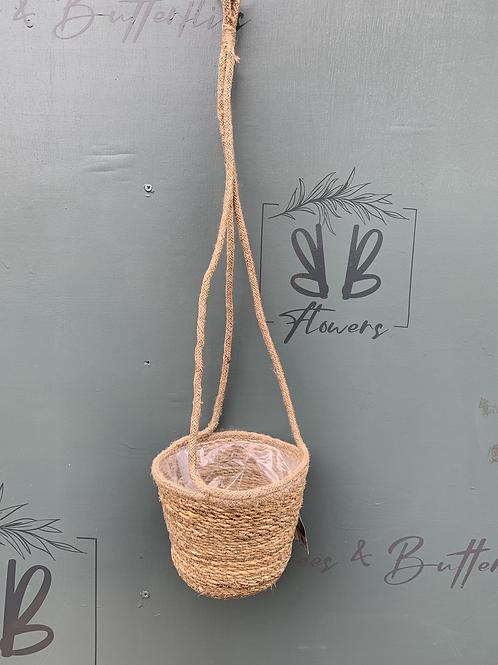Hanging Straw Basket Pot