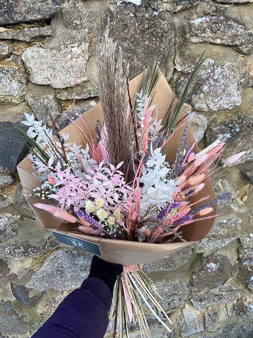Dried Pink, Lavender and Purple Bouquet - Multiple size/price options