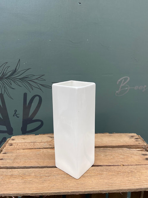 White small square vase