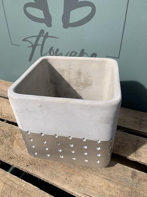 Grey & Silver Square Pot