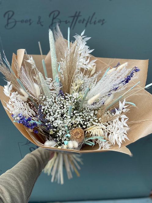 Dried naturals, navy & turquoise bouquet - multiple size/ price options