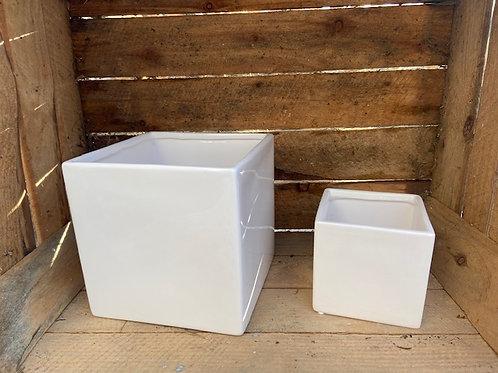 White square ceramic pot