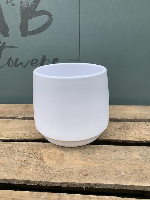 Ceramic White Lucca Pot - Medium