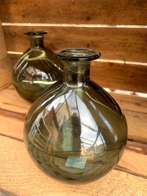 Glass Green Bottle Vase - medium