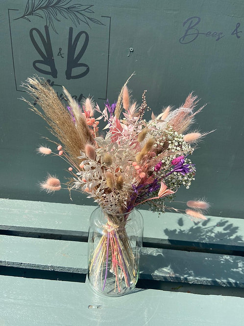 Dried Neutrals with pink & purple in Vase