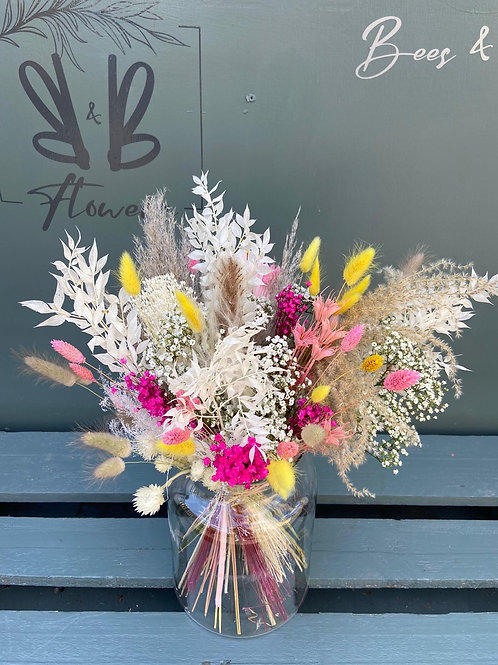 Dried Flowers in Tall Vase - choose your colours