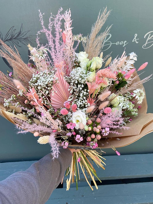 Wrapped Hand Tie - Fresh & Dried Flower Bouquet - multiple size/ price options