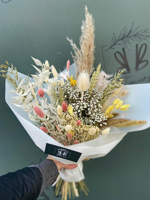 Dried Pink, Yellow and Natural Bouquet - Multiple size/price options