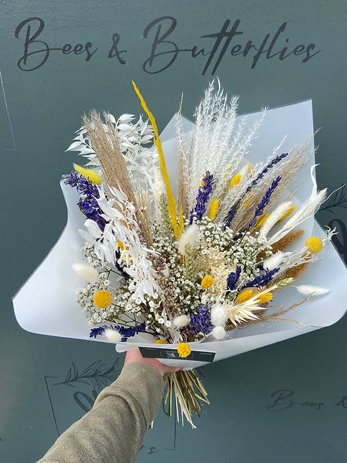 Dried Yellow, Blue & Natural Bouquet - multiple size/ price