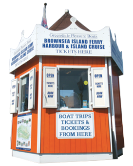 Greenslade Pleasure Boats, Ticket kiosk, Brownsea Island cruise, Wareham river cruise, Swanage river cruise, Poole Quay boat trips