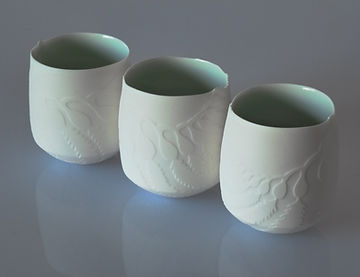 Porcelain vessels, hand thrown Porcelain