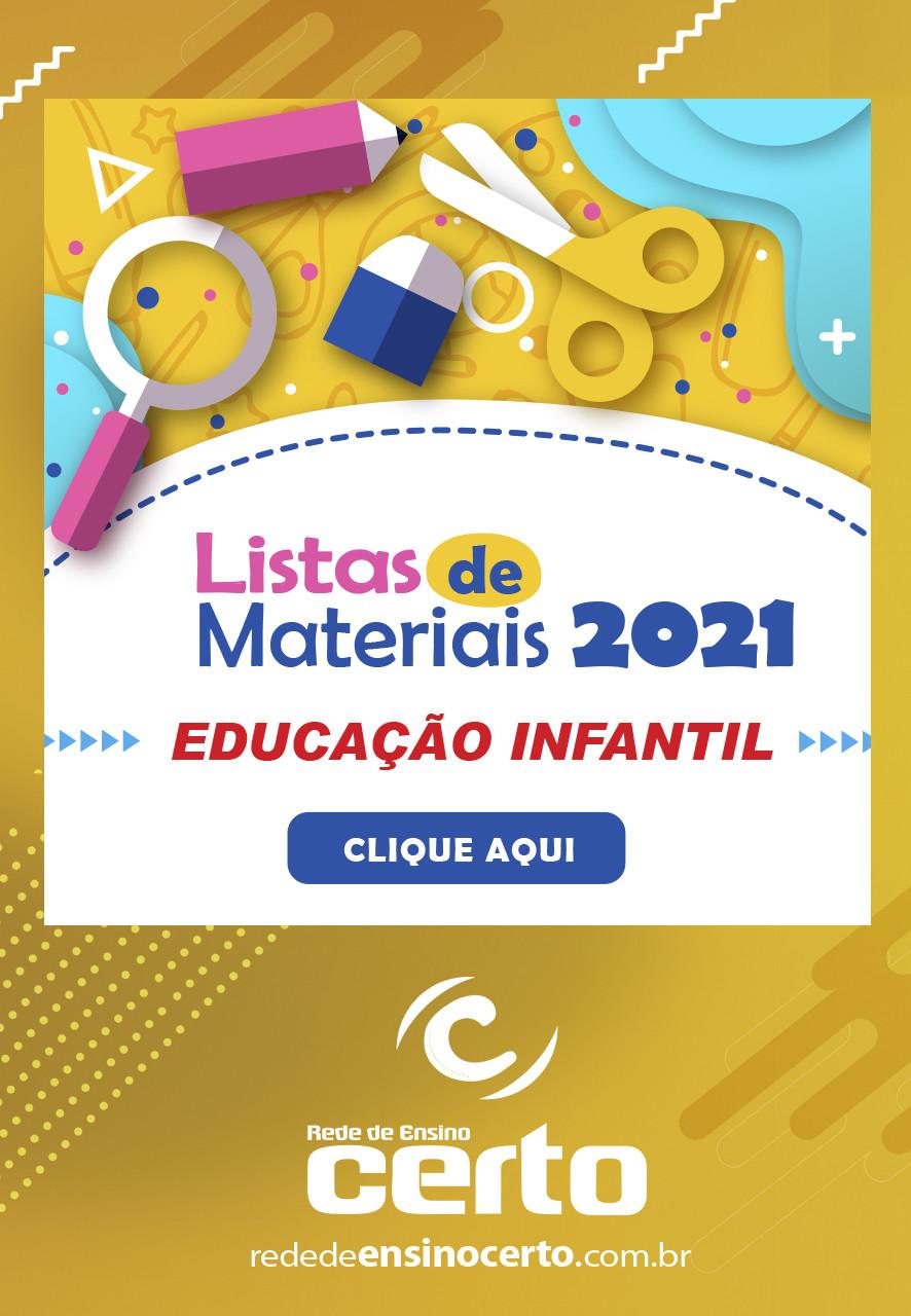 LISTAS DE MATERIAIS 2021 DA EDUCAÇÃO INFANTIL