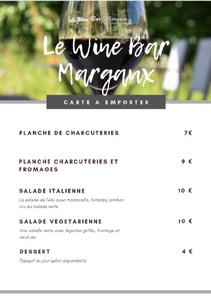 menu vente à emporter wine bar margaux. plats, salades, planchess