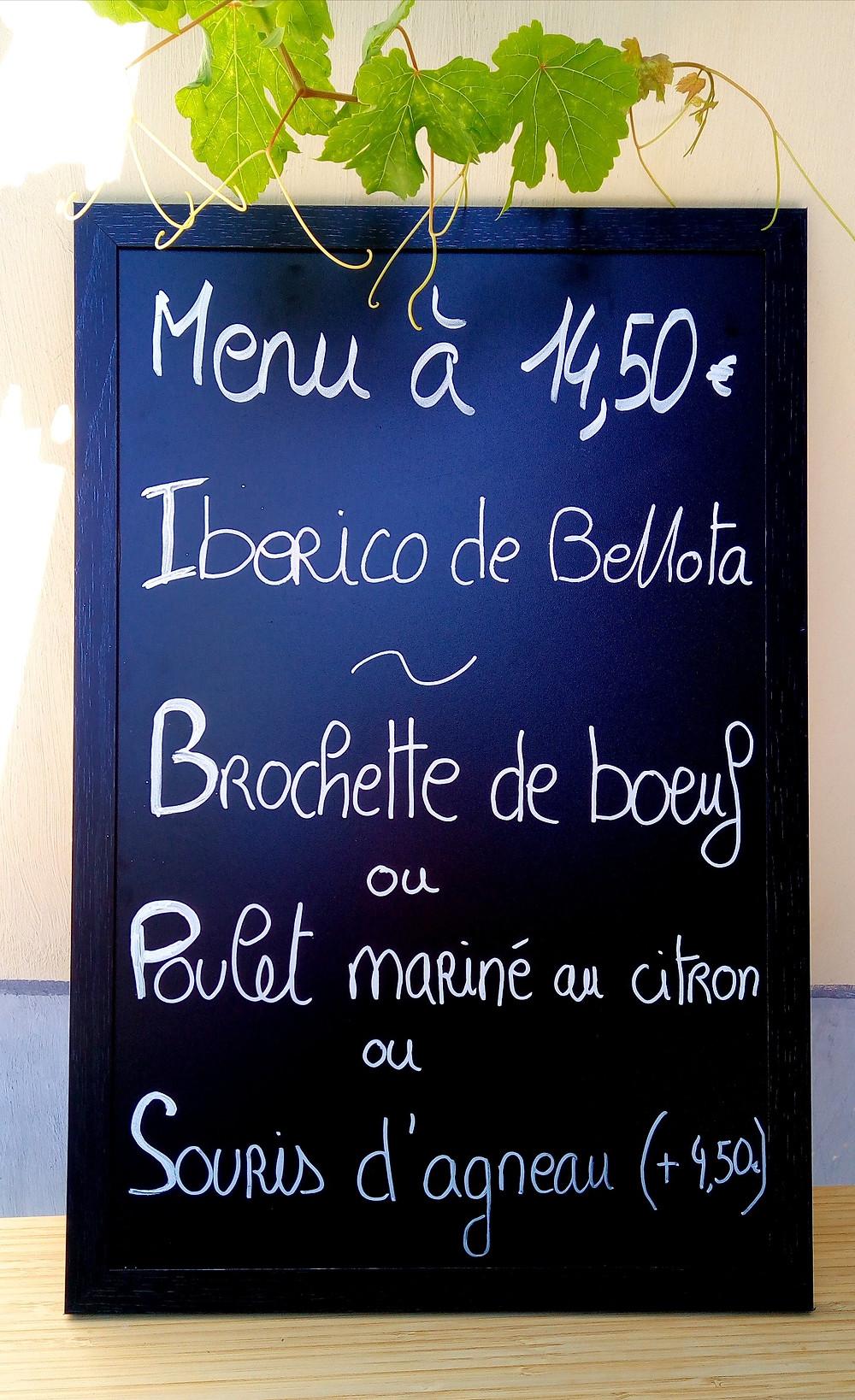 menu déjeuner plat restaurant margaux