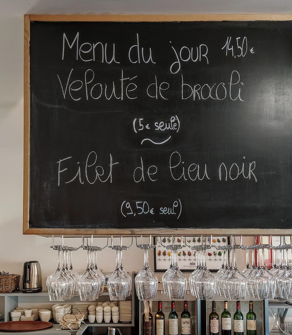 menu déjeuner restaurant margaux