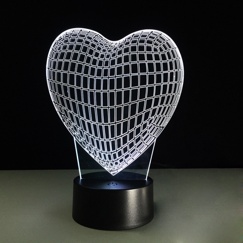 Optical Heart Night Light Contro Illusion IR 3D Lamp with Remote S3AcL54Rjq