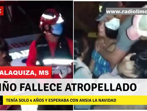 GUALAQUIZA:  NIÑO QUE ESPERABA LA NAVIDAD FALLECE ATROPELLADO