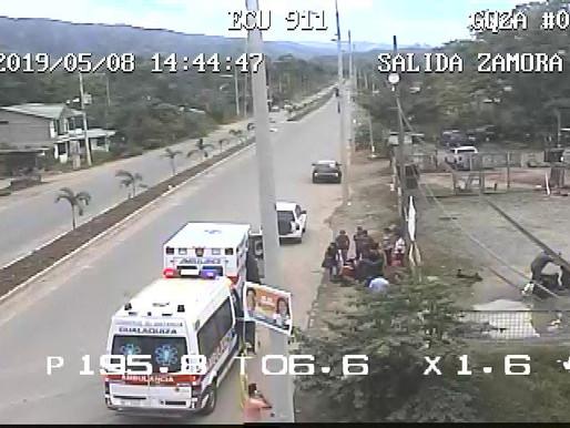 GUALAQUIZA:  ACCIDENTE DE MOTO PROVOCA TRES HERIDOS