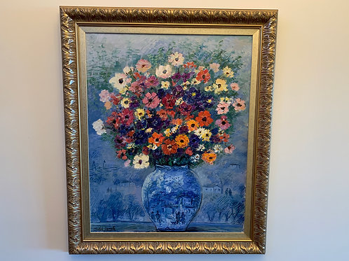 Blue Vase of Bright Flowers, Cascella Michele