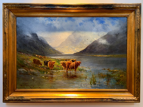 """Cows in Atmospheric Landscape"", Fisher Hugo Melville, Oil on Canvas"