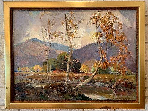 """Sycamores, Santa Anita Canyon"", White Orrin, Oil on Canvas"