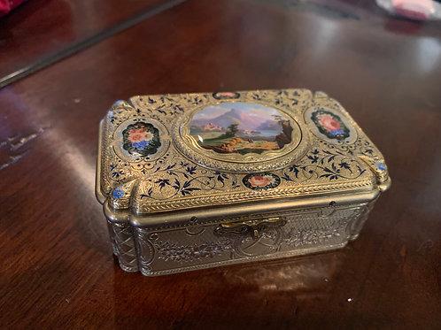 Chas Bruguier Silver-Gilt + Enamel Bird Box