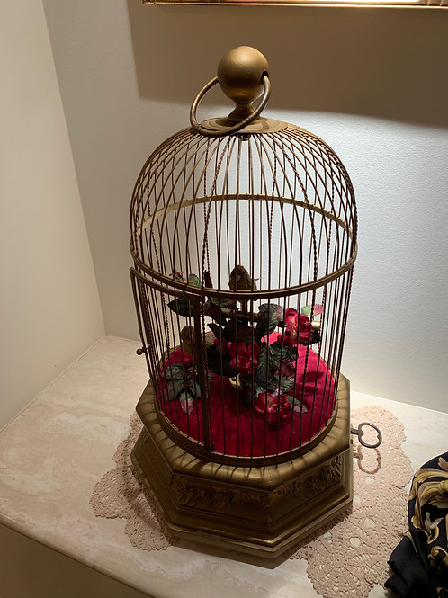 Bird Cage, 2 Singing Birds, Octagon Base
