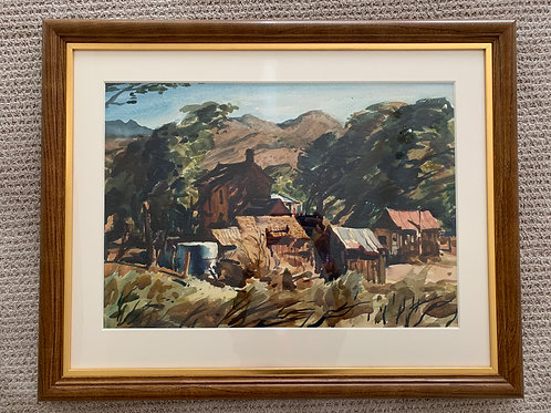 """Horses and Shacks in Landscape"", Kosa Emil Jr, Watercolor on Paper"