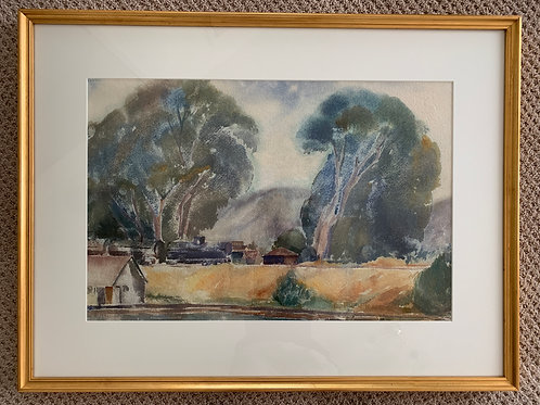 """""""Rail Cars in Eucalyptus"""", Plummer Elmer, Watercolor on Paper"""