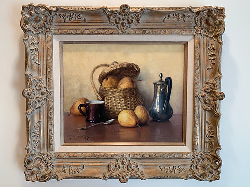 Still Live, Basket of Pears, Coffee Pot, Chailloux Robert, Oil on Canvas