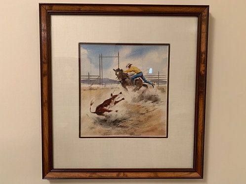 """Calf Roping"", Long Stanley M, Watercolor on Paper"