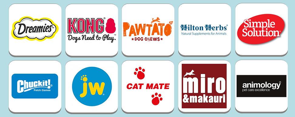 Dreamies, Kong, Pawtato, Hilton Herbs, Simple Solutions, Chuck It, JW, Cat Mate, Miro & Makauri, Animology