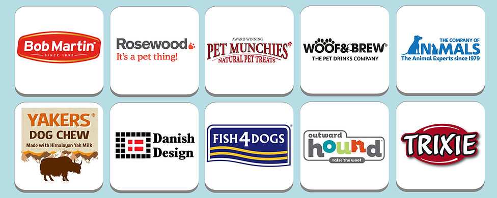 Bob Martin, Rosewood, Pet Munchies, Woof & Brew, Company of Animals, Yakers, Danish Design, Fish4Dogs, Outward Hound, Trixie