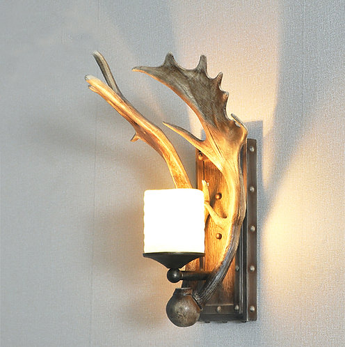 Set of 2 Moose Antler classic candle Light Wall Sconces