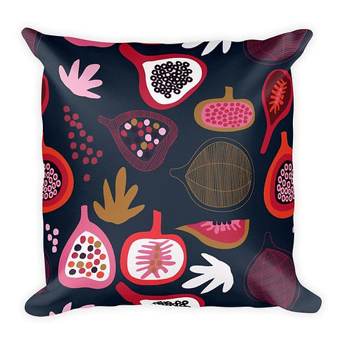 Black too many figs illustration art pillow