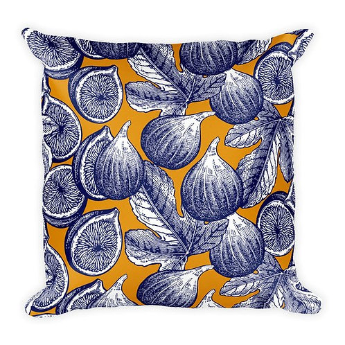 Artistic ginger blue fig art printed decorative throw pillow cushion