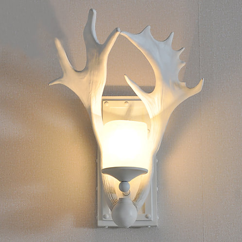 Set of 2 Moose Antler snowy candle Light Wall Sconces
