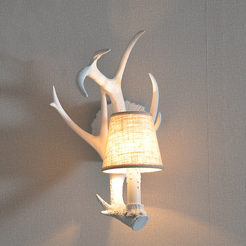 A set of 2 Deer Antler cosy candle Light Wall Sconces