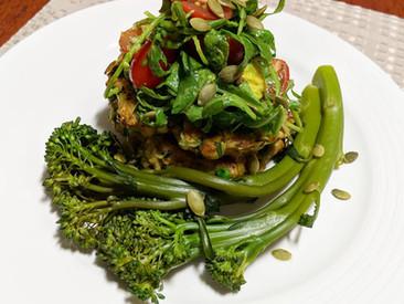 Zucchini, haloumi & pea fritters