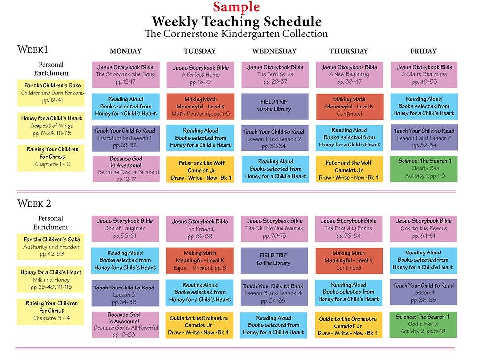sample homeschool schedule for kindergarten students