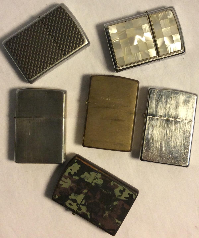 Assorted zippo lighters