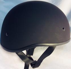 Matte black motorcycle helmet.