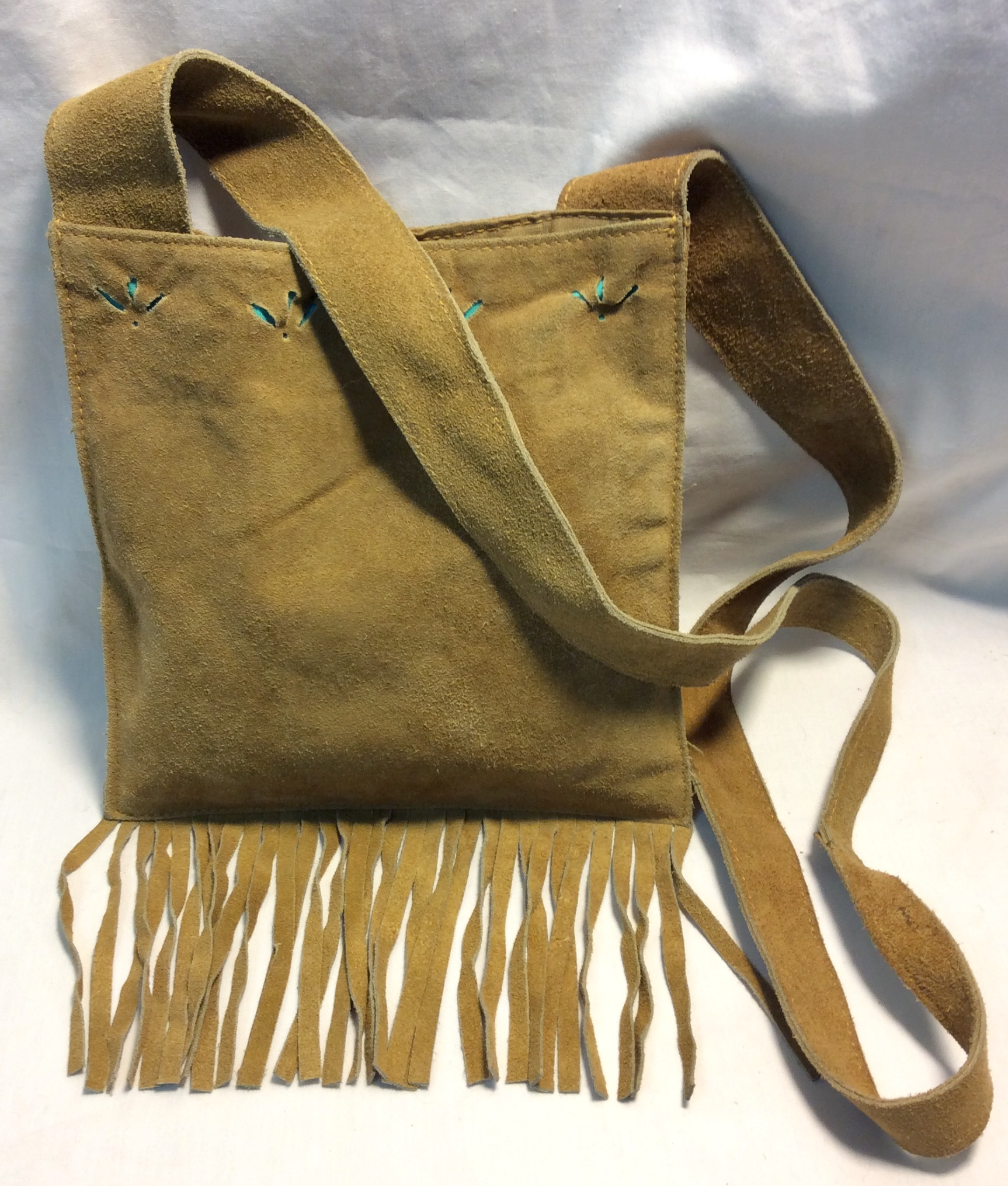 Tan leather bag with fringe