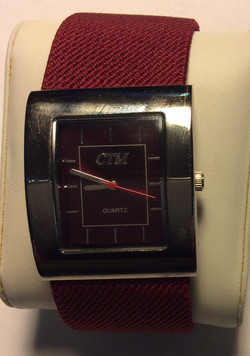 CTM watch - square burgundy face