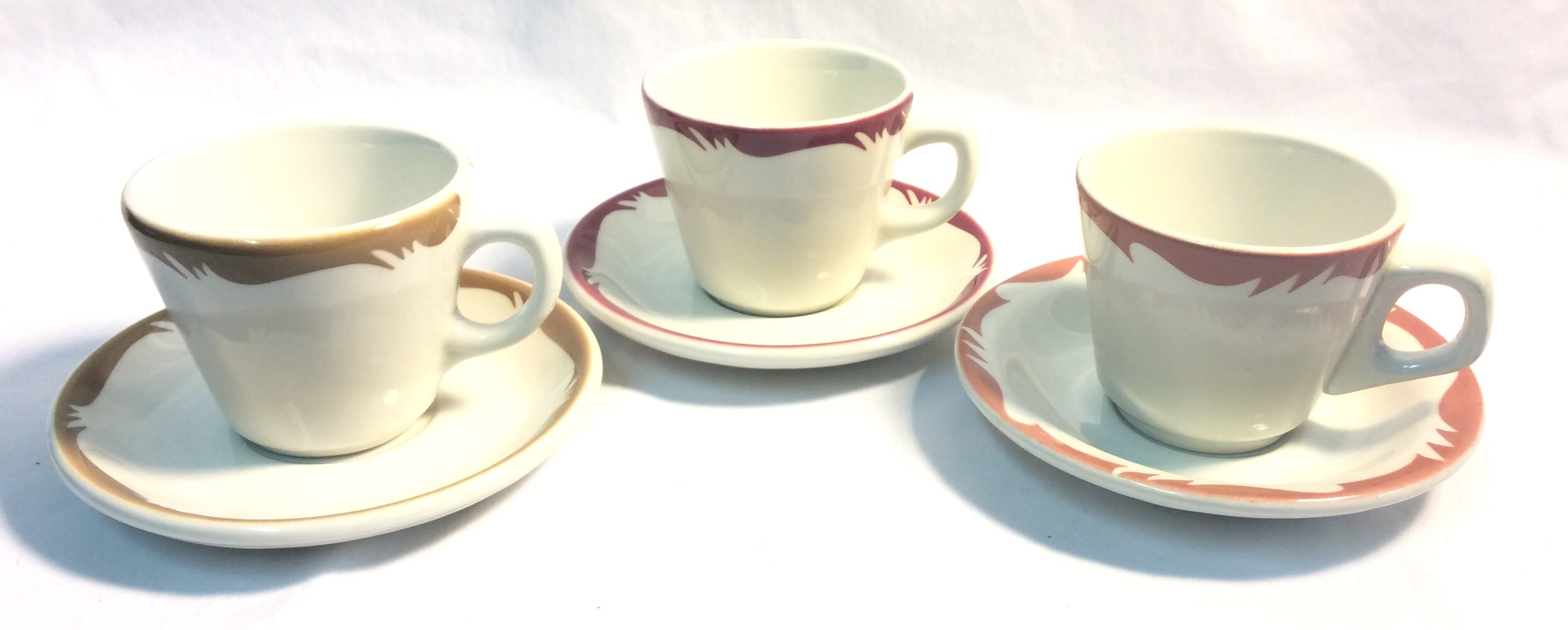 Vintage Diner Cups and saucers; sets x6 brown, x 13 red, x10 rose - x32 cups, x35 saucers