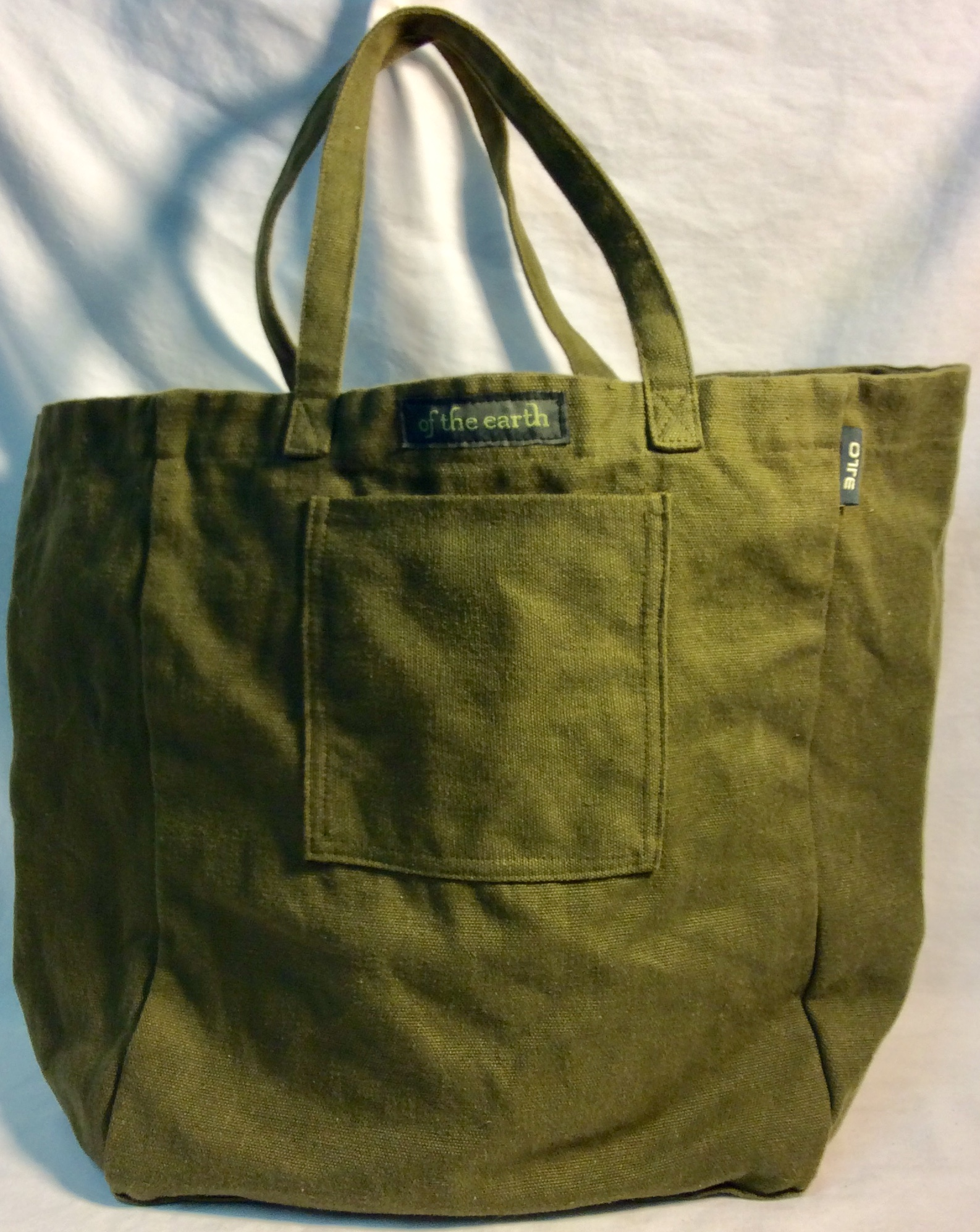 Olive green tote. Hemp and Cotton.