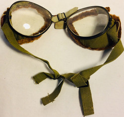 Vintage aviator goggles with clear lenses