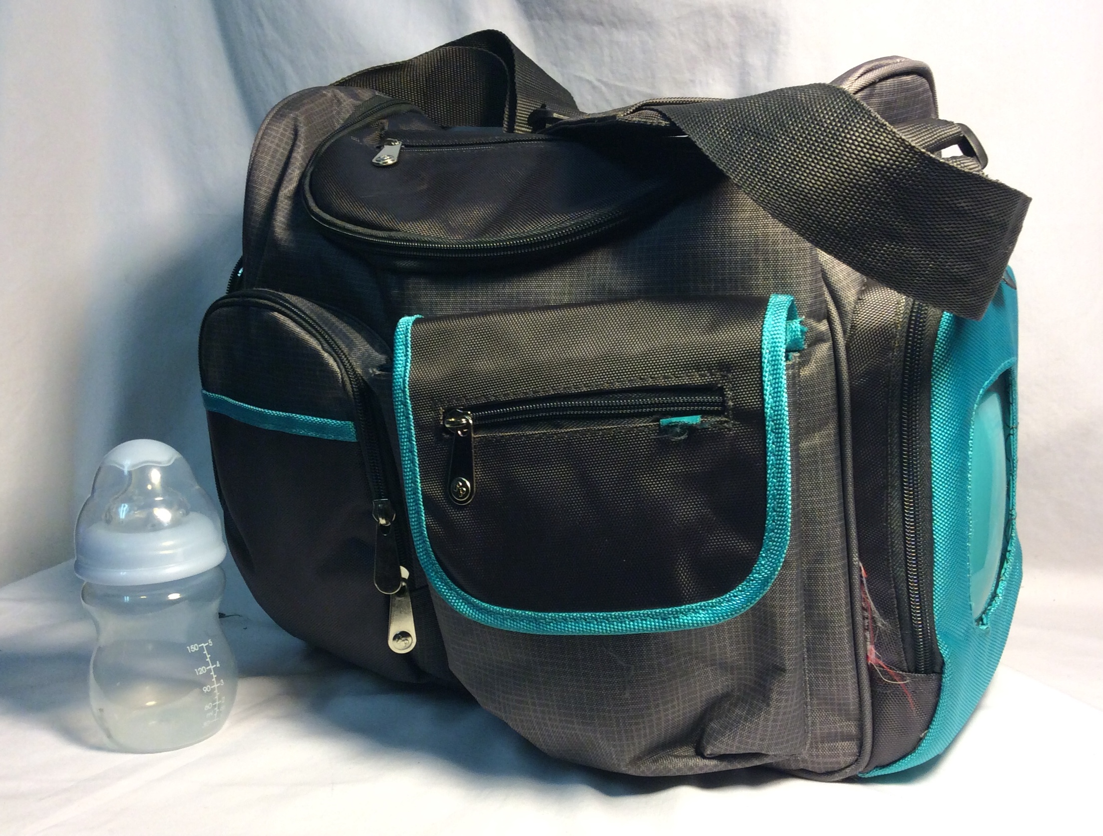 Grey and Turquoise Diaper bag