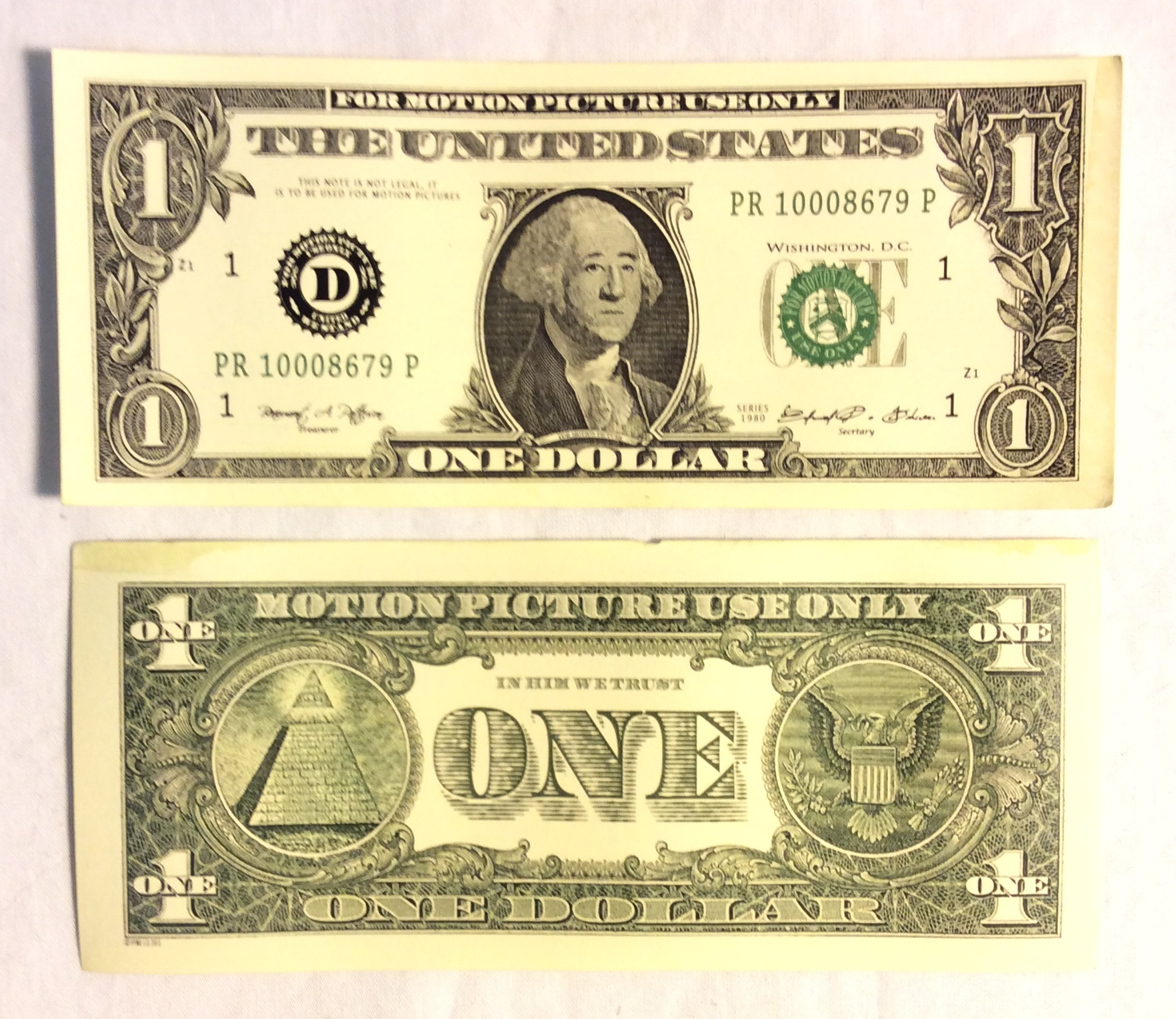 US $1 Bill, double-sided